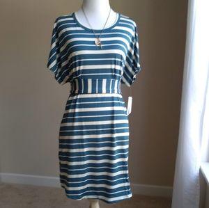 Lularoe Mitzi tunic- teal and cream stripe, XL